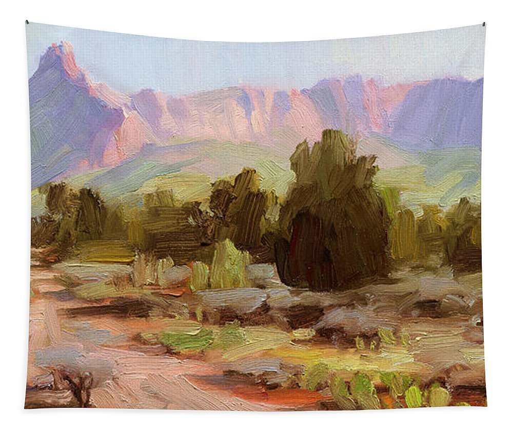 Zion Tapestry featuring the painting On The Chinle Trail by Steve Henderson