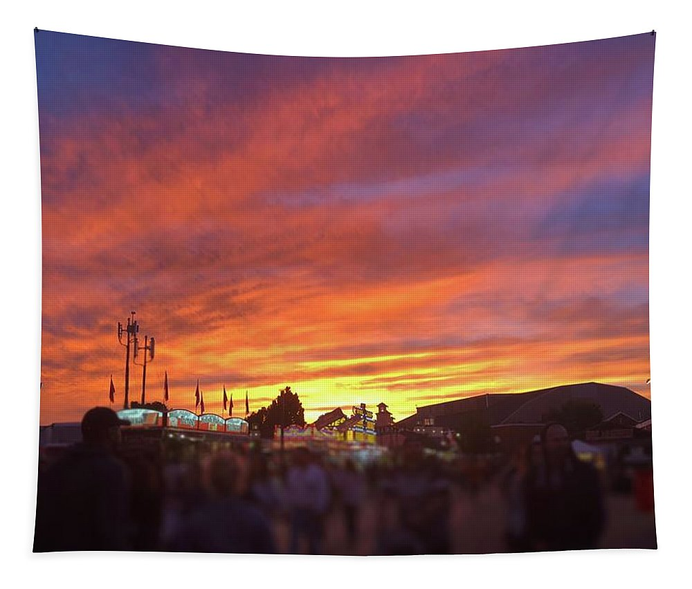 Sunset Tapestry featuring the photograph Orange Clouds by Abby Sheaff