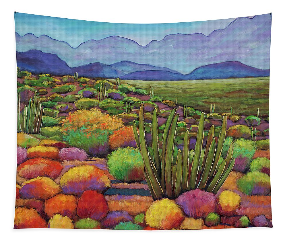 Desert Landscape Tapestry featuring the painting Organ Pipe by Johnathan Harris