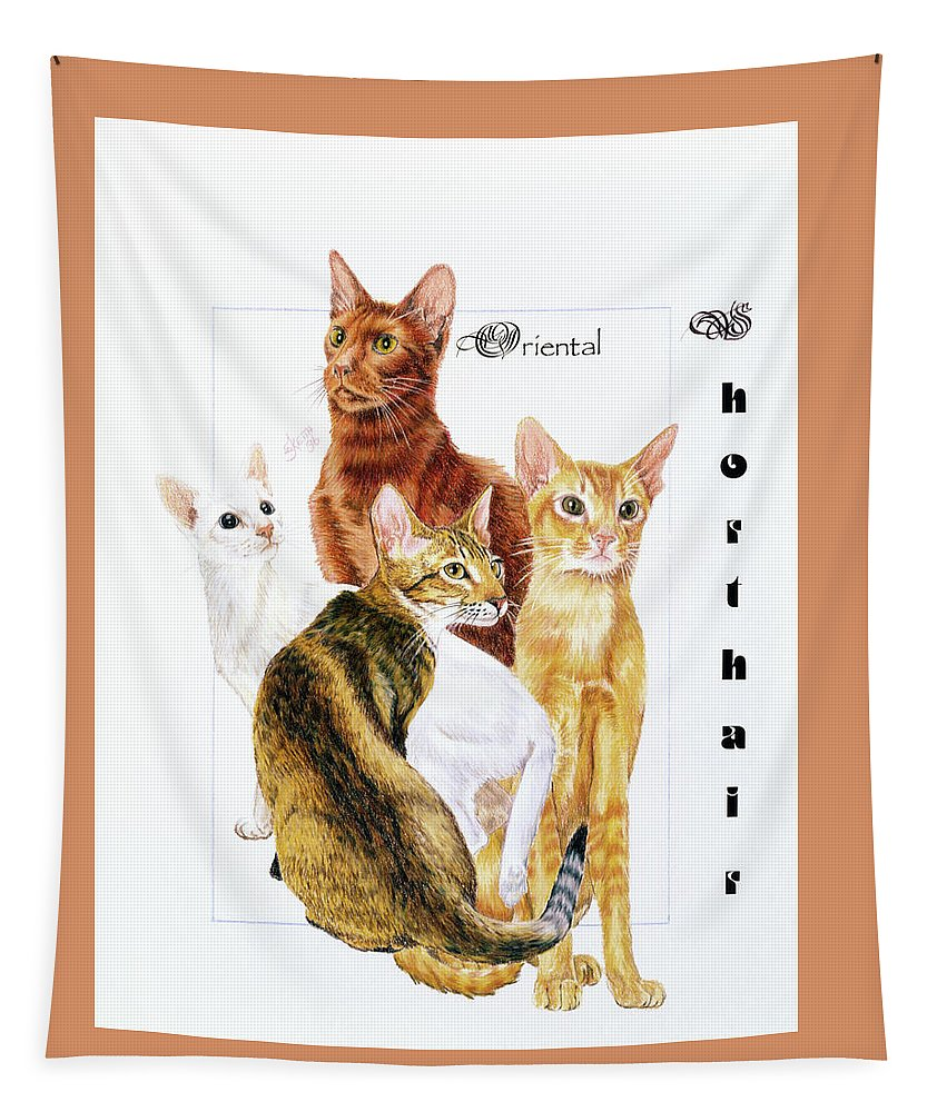 Feline Tapestry featuring the drawing Oriental Shorthair by Barbara Keith
