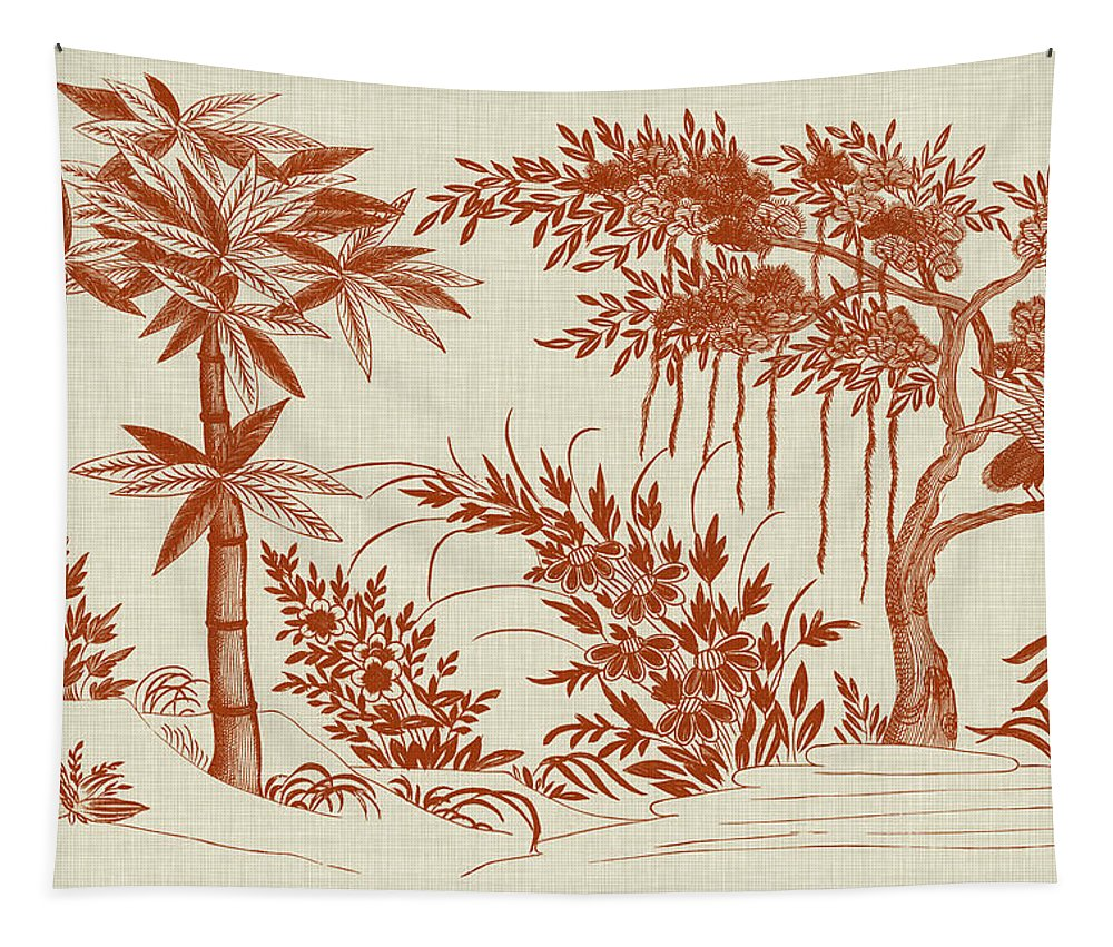 Asian Tapestry featuring the painting Ornamental Trees by Vision Studio