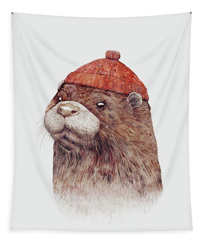 Sea Otter Tapestry featuring the painting Otter by Animal Crew