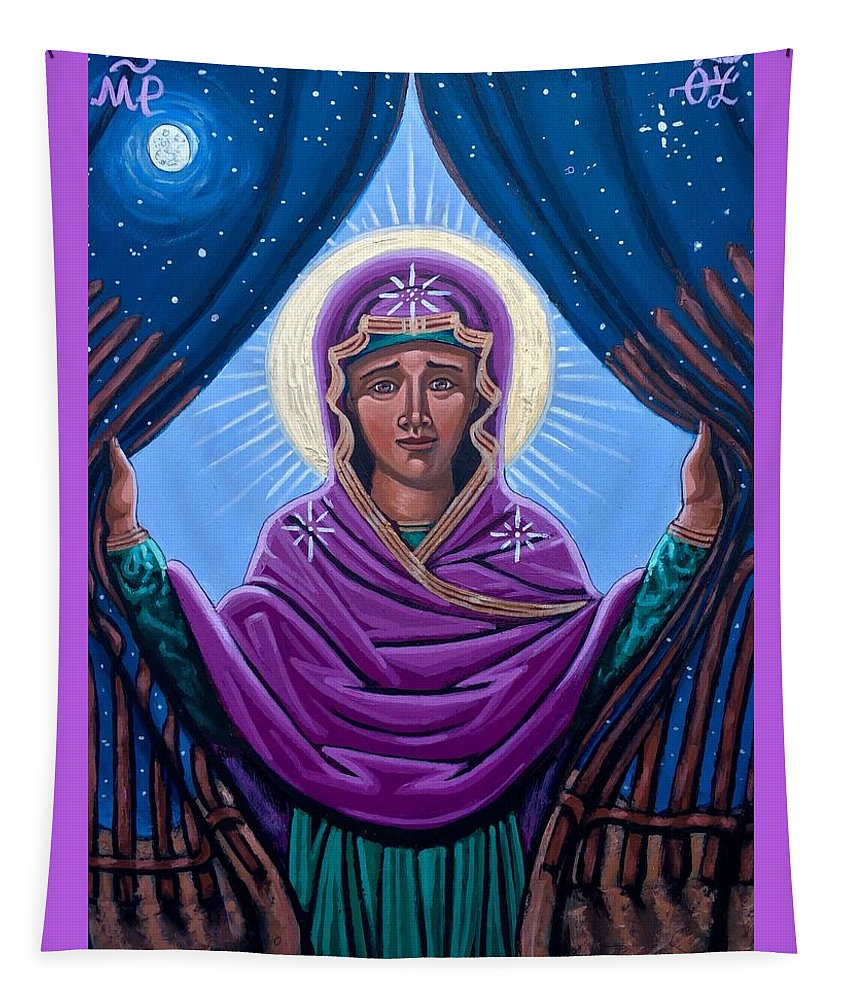 Tapestry featuring the painting Our Lady Who Removes Walls by Kelly Latimore