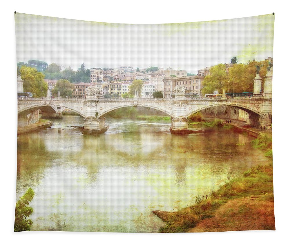 Photography Tapestry featuring the digital art Over The Tiber by Terry Davis