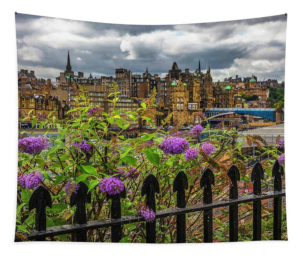 Fall Tapestry featuring the photograph Overlooking The Train Station In Edinburgh by Debra and Dave Vanderlaan