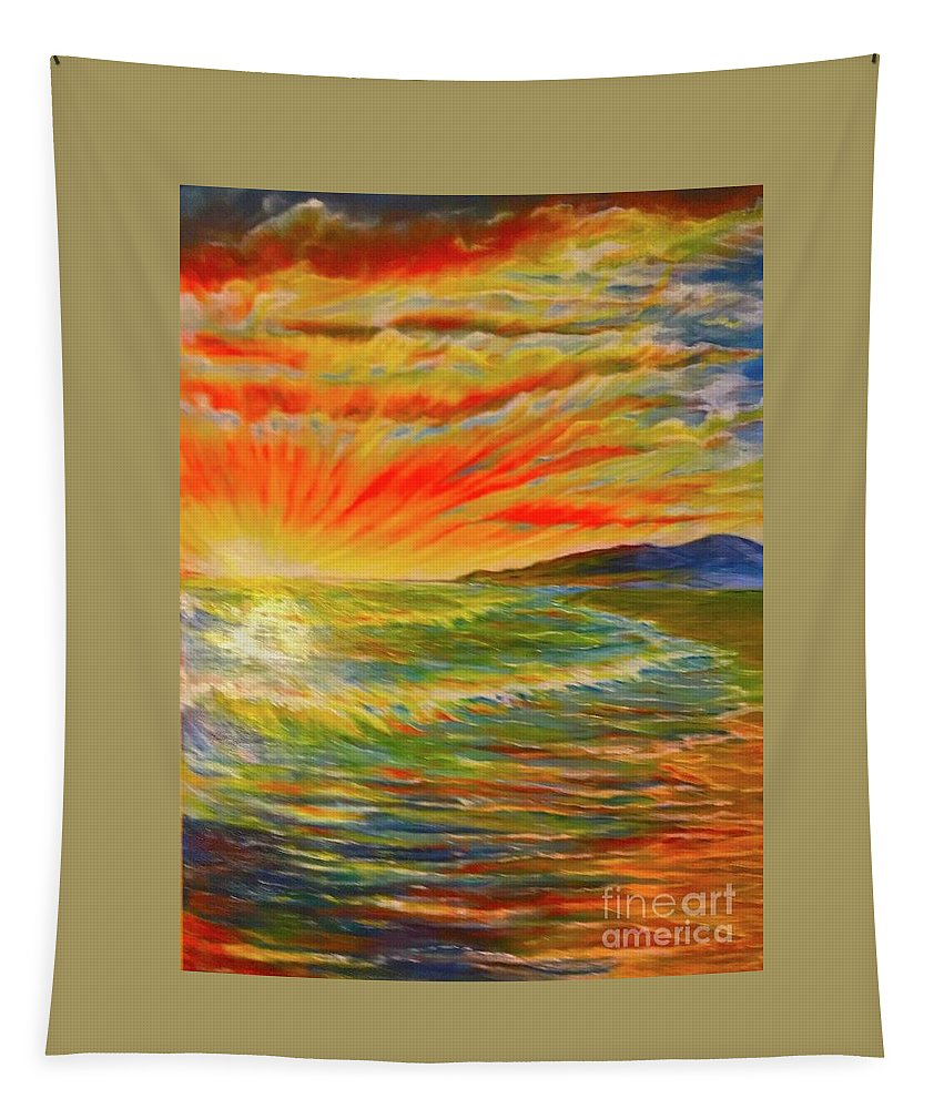 Brilliant Sunset Tapestry featuring the painting Pacific Sunset by Michael Silbaugh