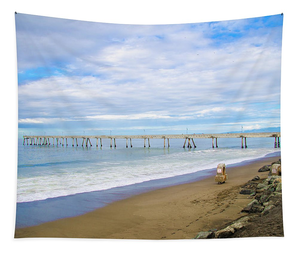 Pacifica Tapestry featuring the photograph Pacifica Municipal Pier - California by Bill Cannon