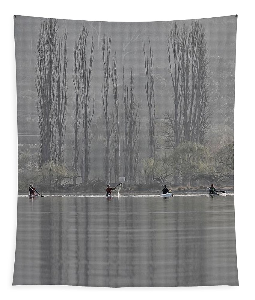 Tree Tapestry featuring the photograph Paddling Under Poplars by Anthony Croke