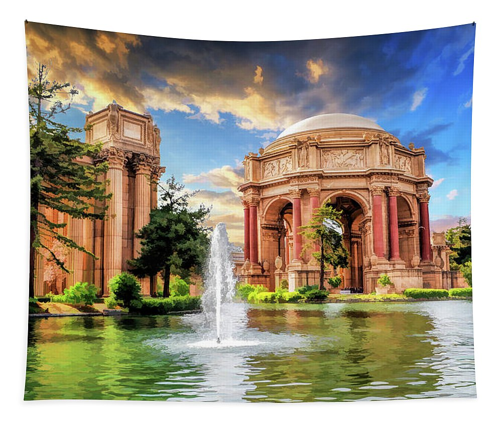 San Francisco Tapestry featuring the painting Palace Of Fine Arts In San Francisco by Christopher Arndt