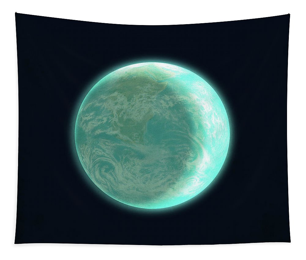 Space Tapestry featuring the drawing Pale Blue Dot by Eric Fan