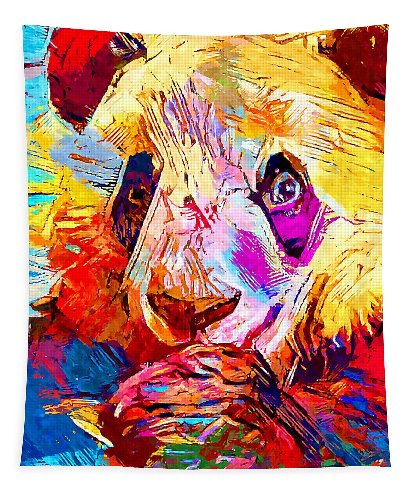 Animal Tapestry featuring the painting Panda by Chris Butler