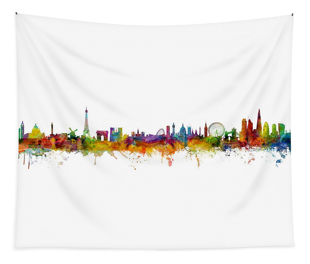 Paris Tapestry featuring the digital art Paris And London Skylines Mashup by Michael Tompsett