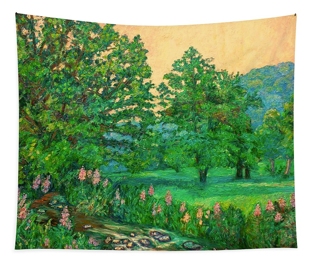 Landscape Tapestry featuring the painting Park Road in Radford by Kendall Kessler