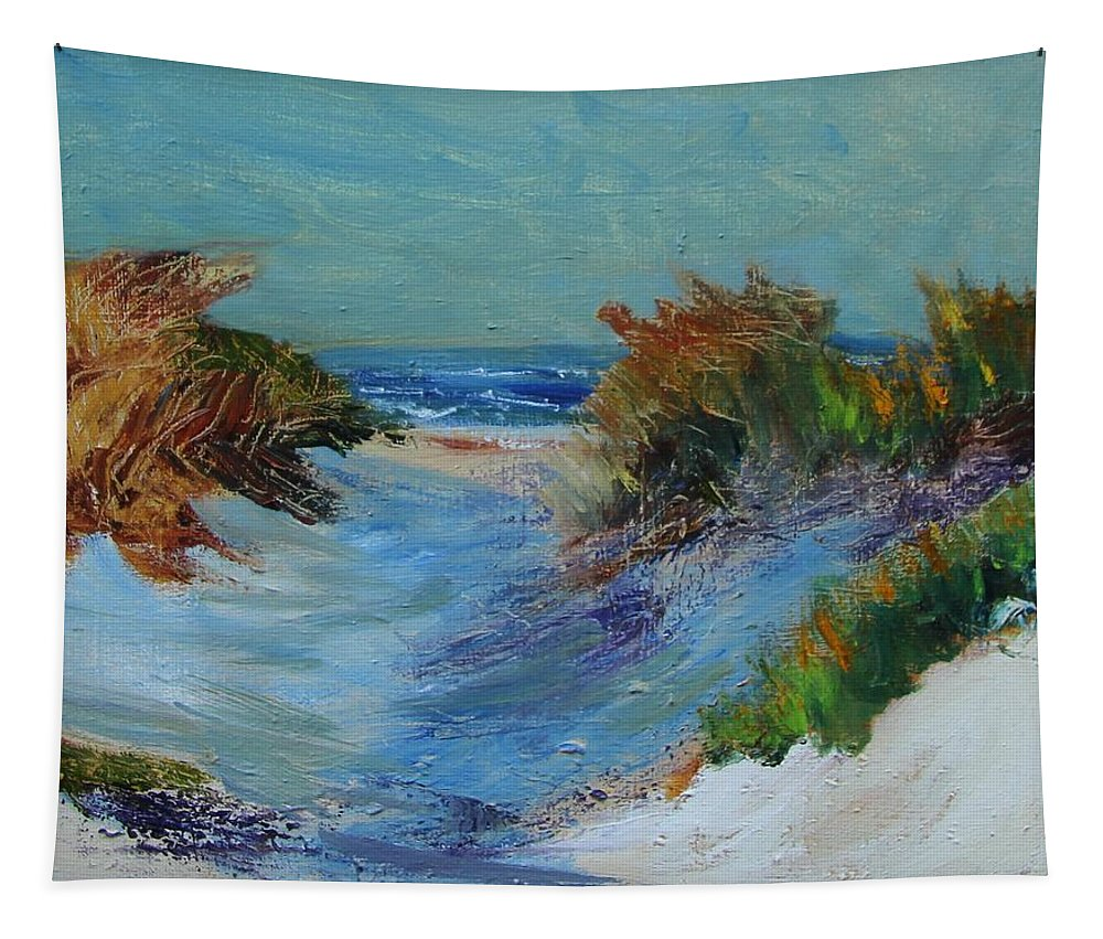 Nature Tapestry featuring the painting Path To The Ocean by Michael Helfen