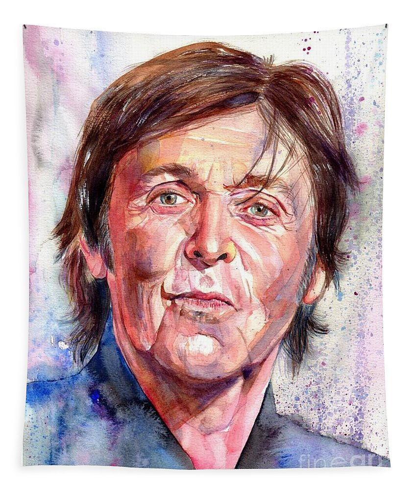 Paul Tapestry featuring the painting Paul McCartney Watercolor by Suzann Sines