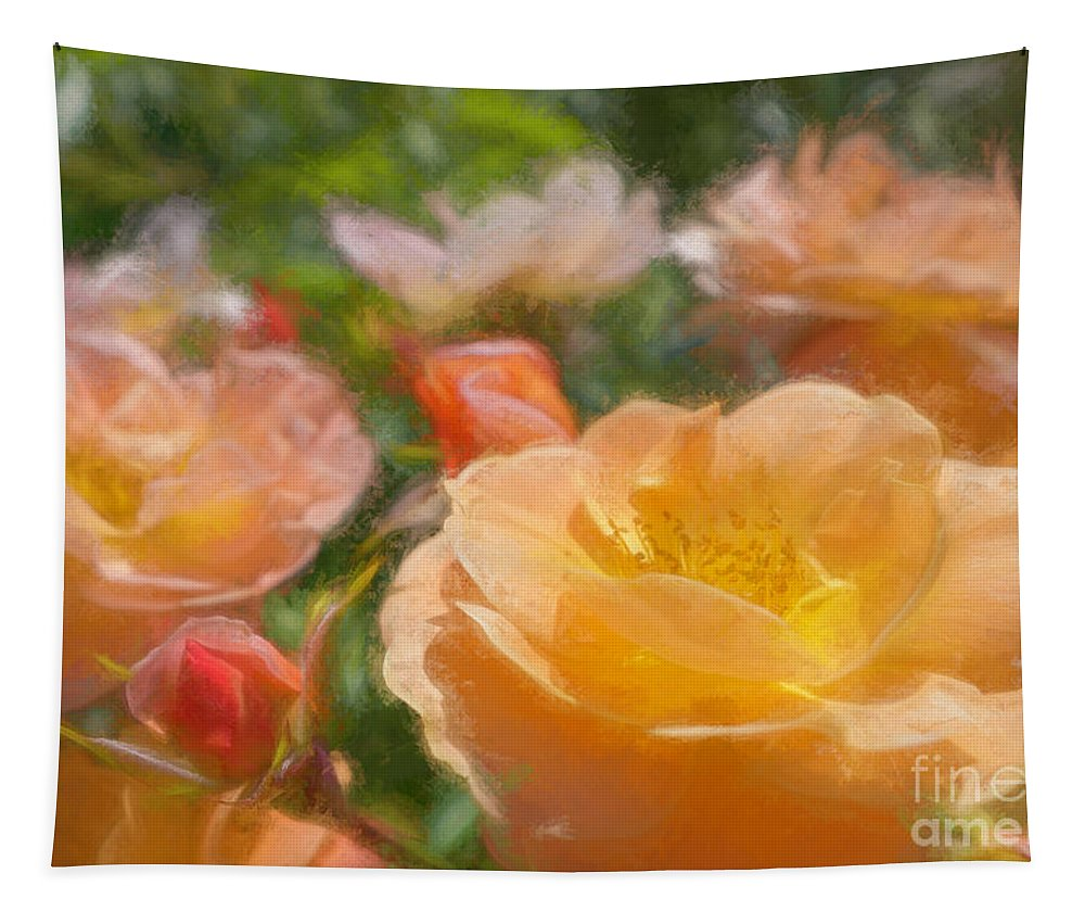 Rose Tapestry featuring the photograph Peach Yellow Roses by Jean OKeeffe Macro Abundance Art