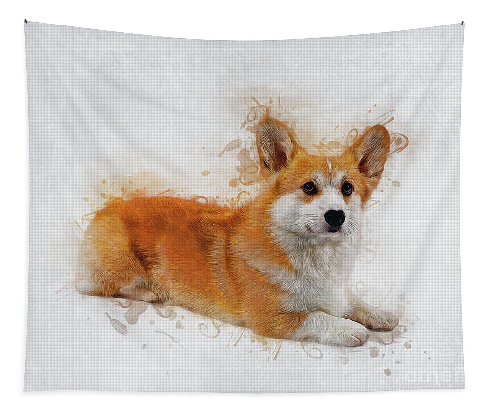 Animal Tapestry featuring the digital art Pembroke Welsh Corgi by Ian Mitchell