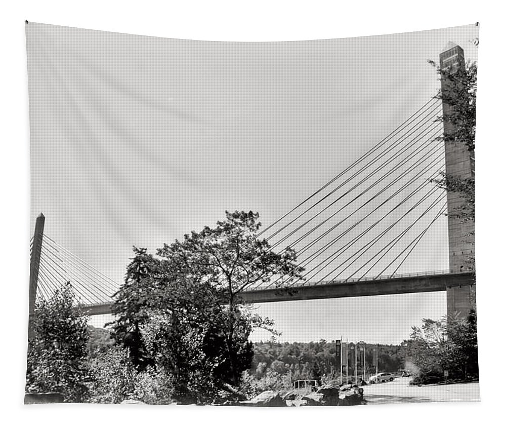 Black And White Photography Tapestry featuring the photograph Penobscot Narrows Bridge And Observatory by Catherine Melvin