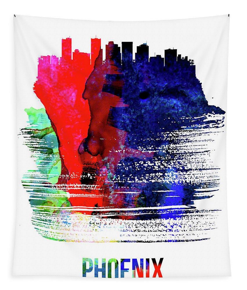 Phoenix Tapestry featuring the mixed media Phoenix Skyline Brush Stroke Watercolor  by Naxart Studio