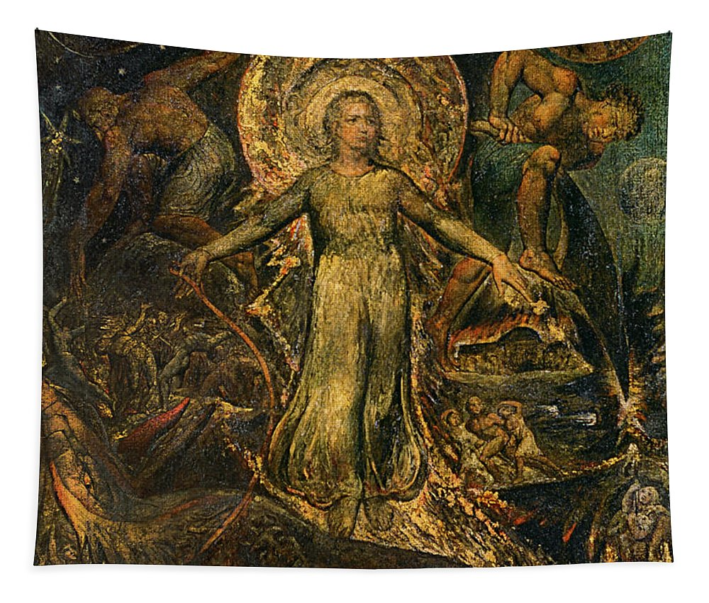 1805 Tapestry featuring the painting Pitt Guiding Behemoth, C1805 by William Blake