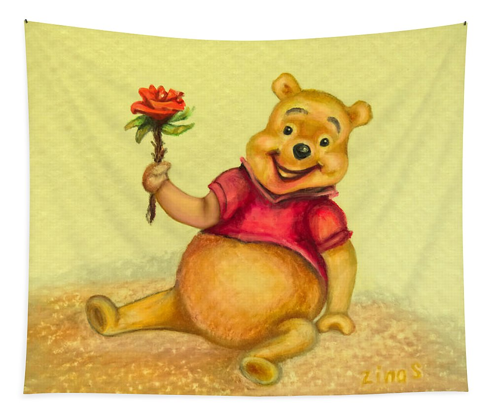 Winnie-the-pooh Tapestry featuring the drawing Pooh Bear by Zina Stromberg