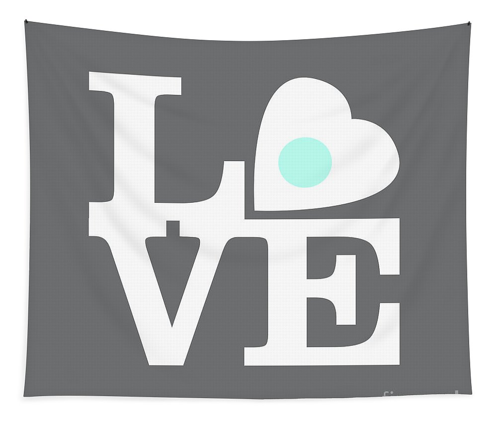 Love Tapestry featuring the digital art Pop Art Love In Gray by Delphimages Photo Creations