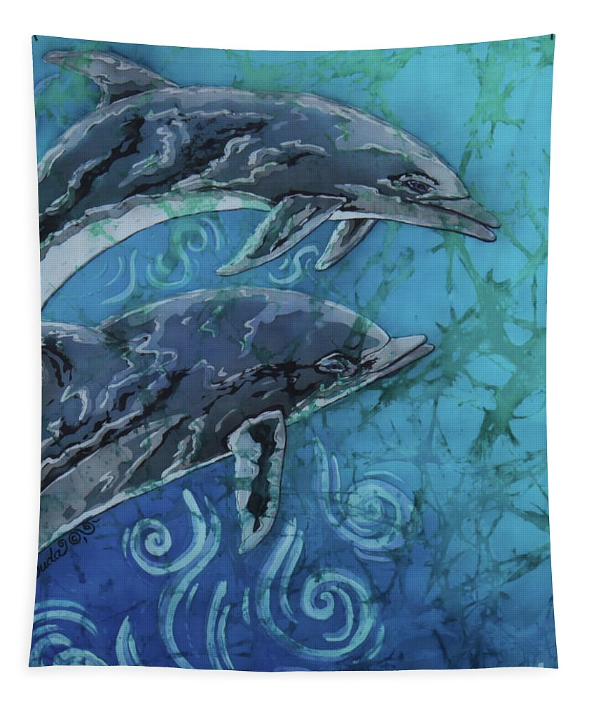 Porpoise Tapestry featuring the painting Porpoise Pair - Close Up by Sue Duda