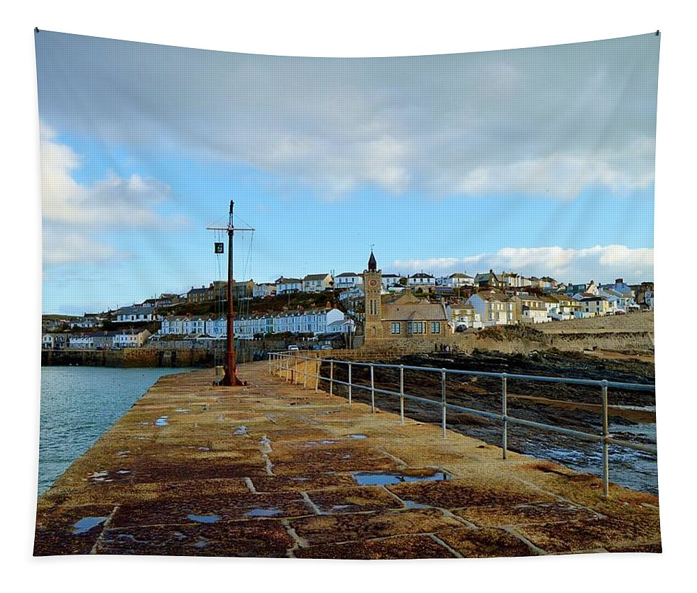 Porthleven Tapestry featuring the photograph Porthleven Cornwall by Grace Collett