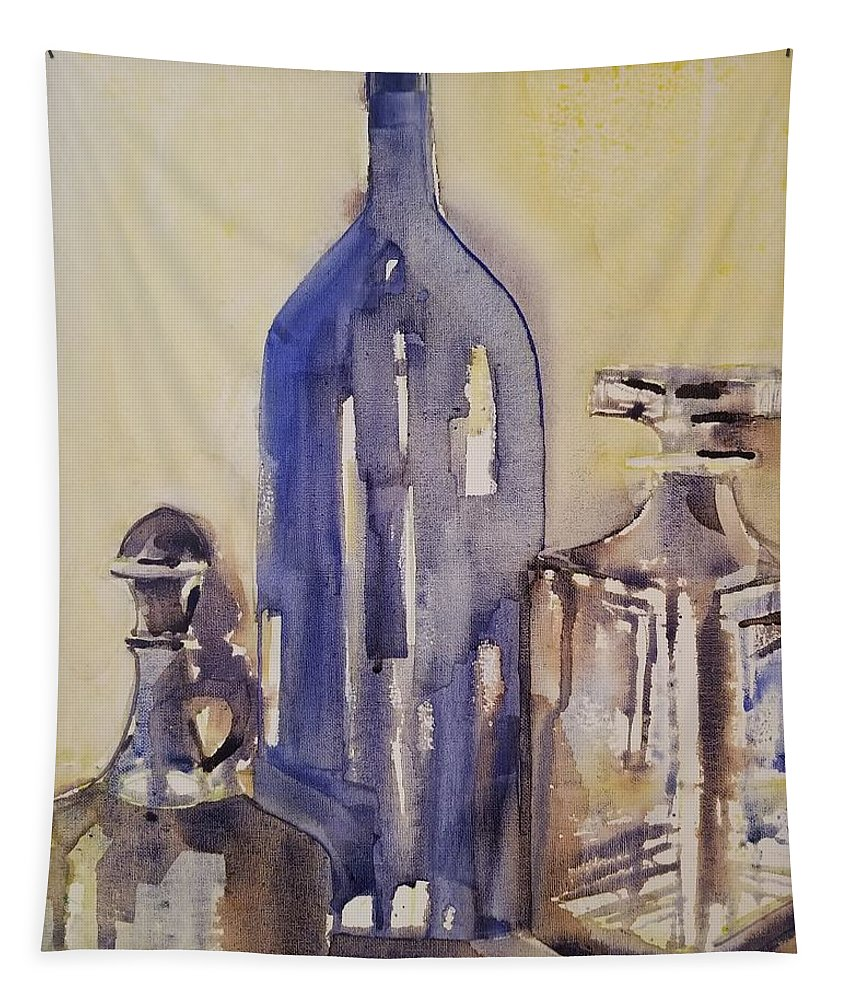 Bottles Tapestry featuring the painting Pour by MaryEllen Lee