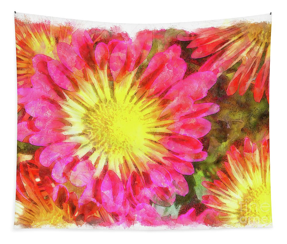 Flowers Tapestry featuring the digital art Pretty Fall Beauties by Elisabeth Lucas