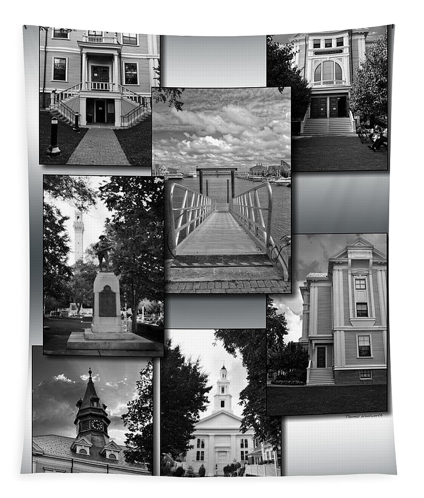 Provincetown Tapestry featuring the photograph Provincetown Town Hall Cape Cod Massachusetts Collage Bw Vertical by Thomas Woolworth