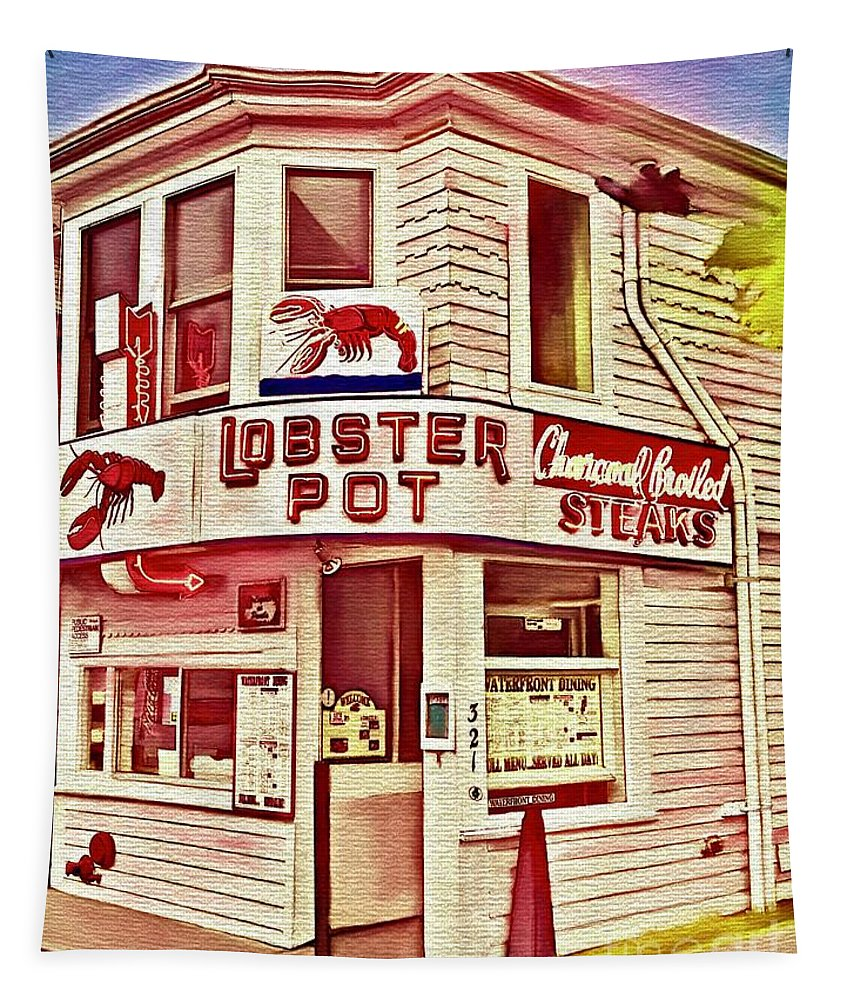 Provincetown Tradition Lobster Pot Tapestry featuring the digital art Provincetown Tradition Lobster Pot by Laurie Cairone