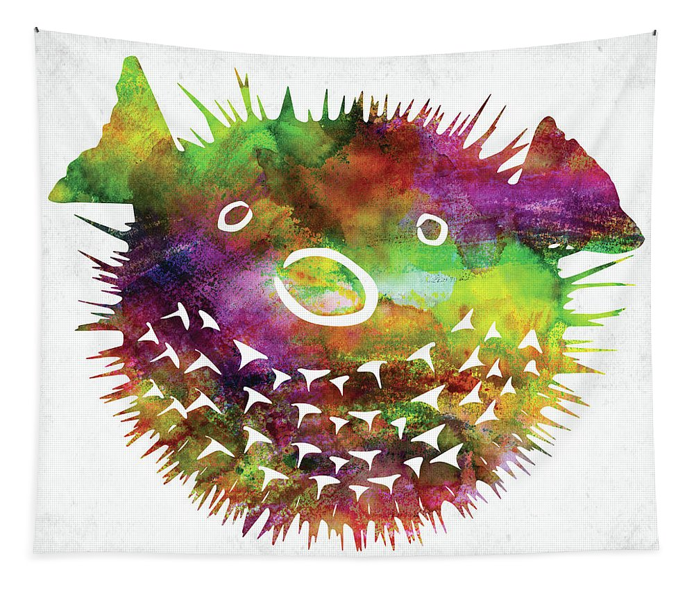 Fish Tapestry featuring the digital art Puffer Fish Face Watercolor by Mihaela Pater