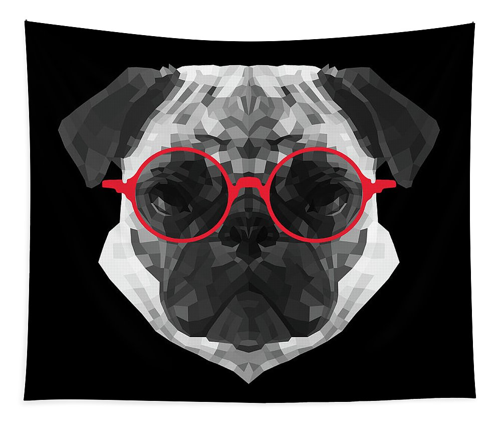 Pug Tapestry featuring the digital art Pug in Red Glasses by Naxart Studio