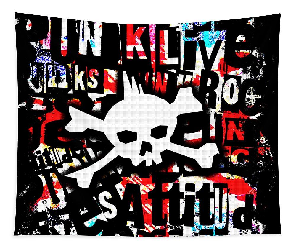Skull Tapestry featuring the digital art Punk Skull Graphic by Roseanne Jones