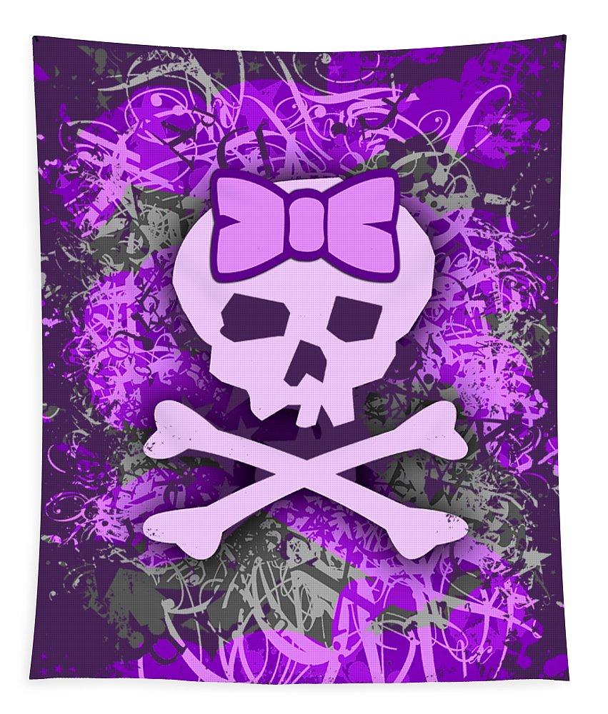 Purple Tapestry featuring the digital art Purple Girly Skull Graphic by Roseanne Jones