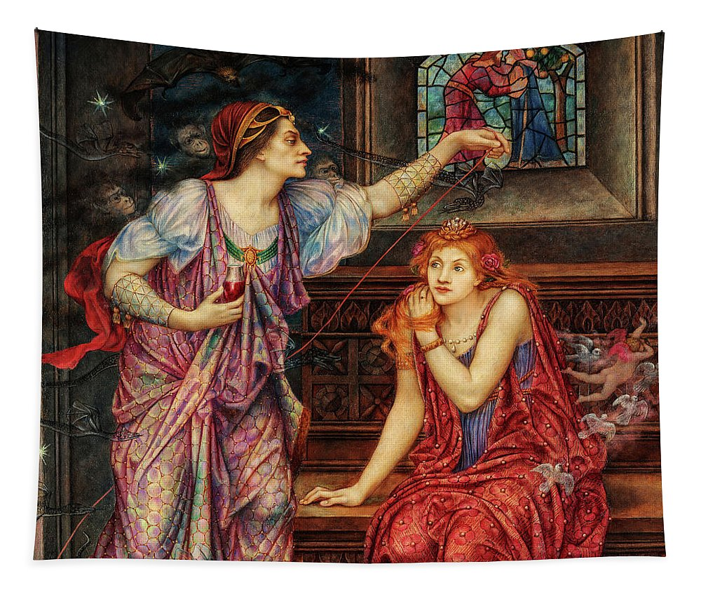 Evelyn De Morgan Tapestry featuring the painting Queen Eleanor And The Fair Rosamund, 1902 by Evelyn De Morgan