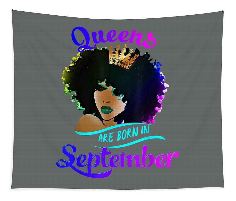 men's Novelty T-shirts Tapestry featuring the digital art Queens Born September Shirt Black Girl Virgo Libra Birthday Tshirt by Unique Tees