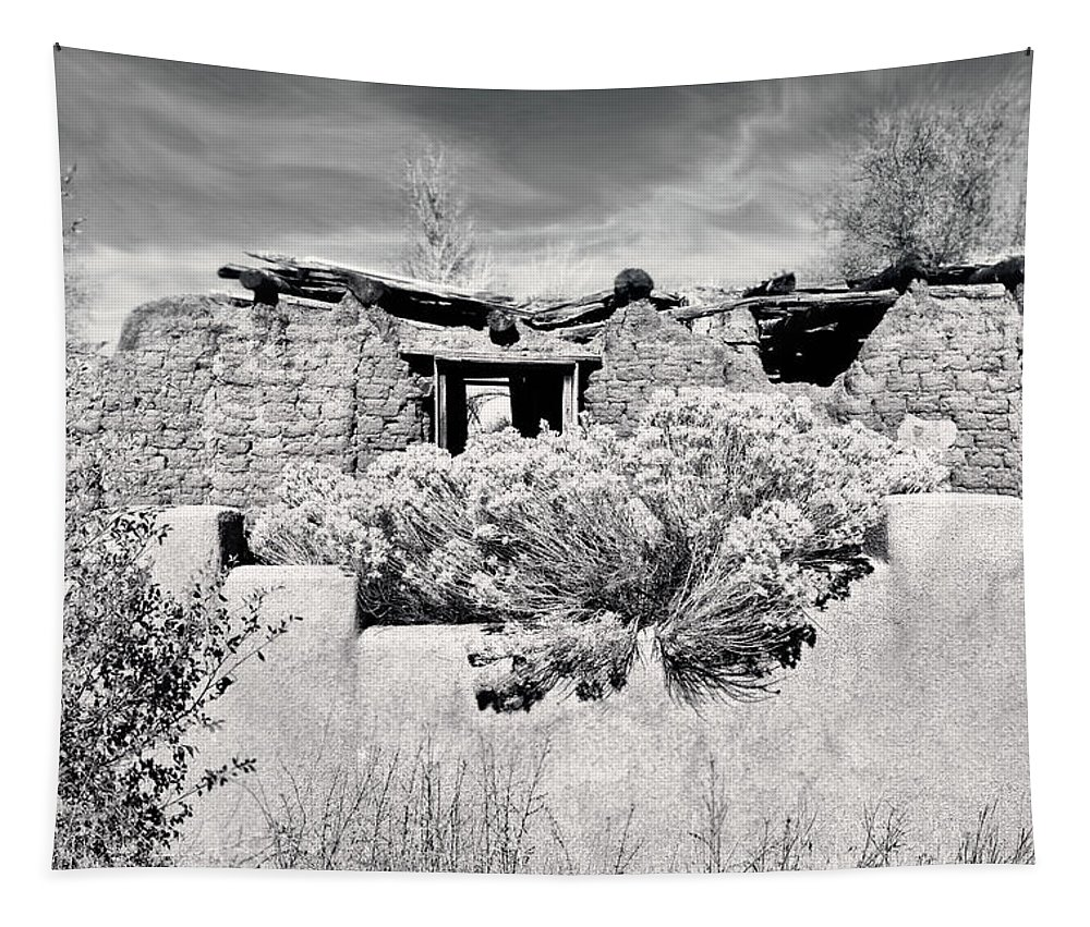 Ruins Tapestry featuring the photograph Rabbitbrush And Adobe Ruins In Sepia by Kathleen Bishop
