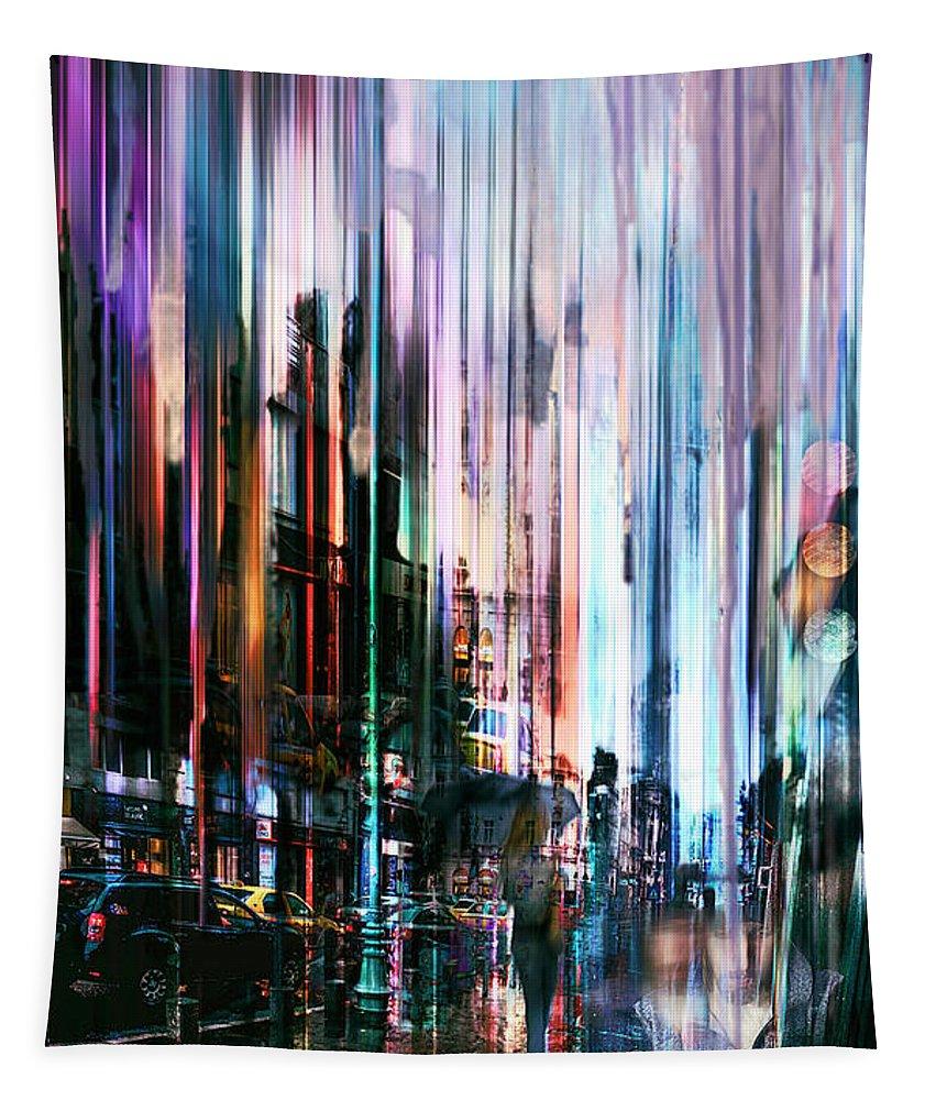 Rain Tapestry featuring the digital art Rainy Street by Tim Palmer