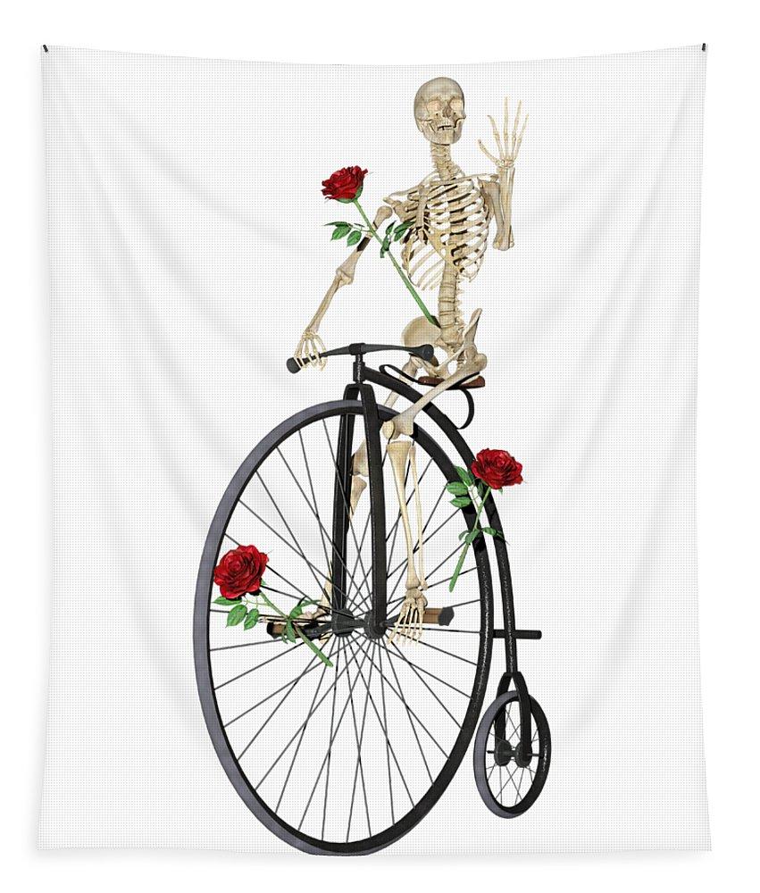 Skeleton Tapestry featuring the digital art Rambling Rose Stroll by Betsy Knapp