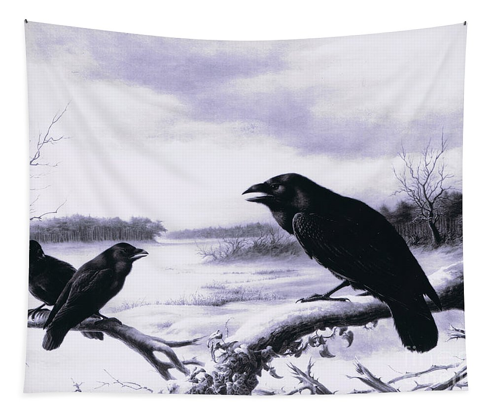 Raven Tapestry featuring the painting Ravens In Winter by Harry Bright