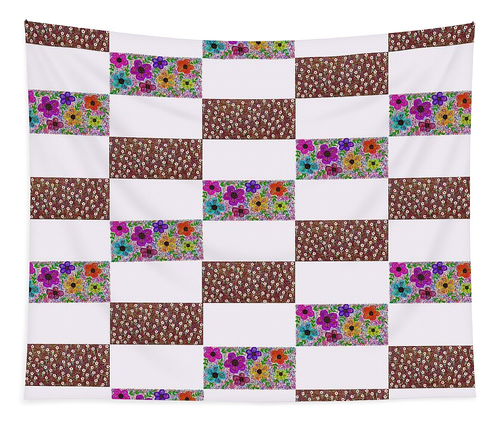 Brown Floral Tapestry featuring the digital art Rectangular Patchwork by Wilma Barnwell