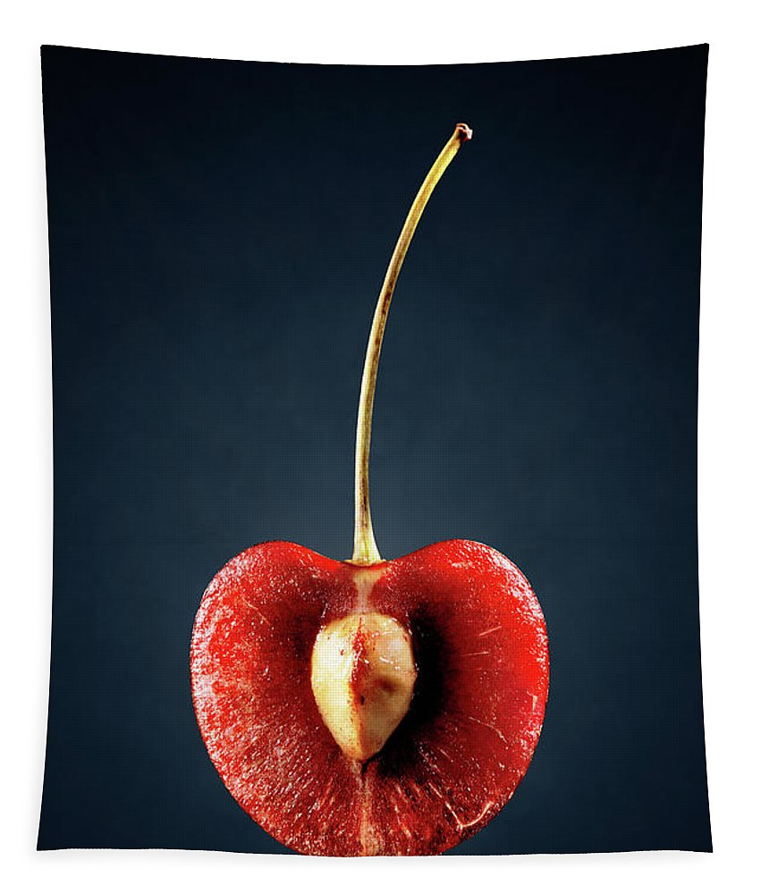 Cherry Tapestry featuring the photograph Red Cherry Still Life by Johan Swanepoel