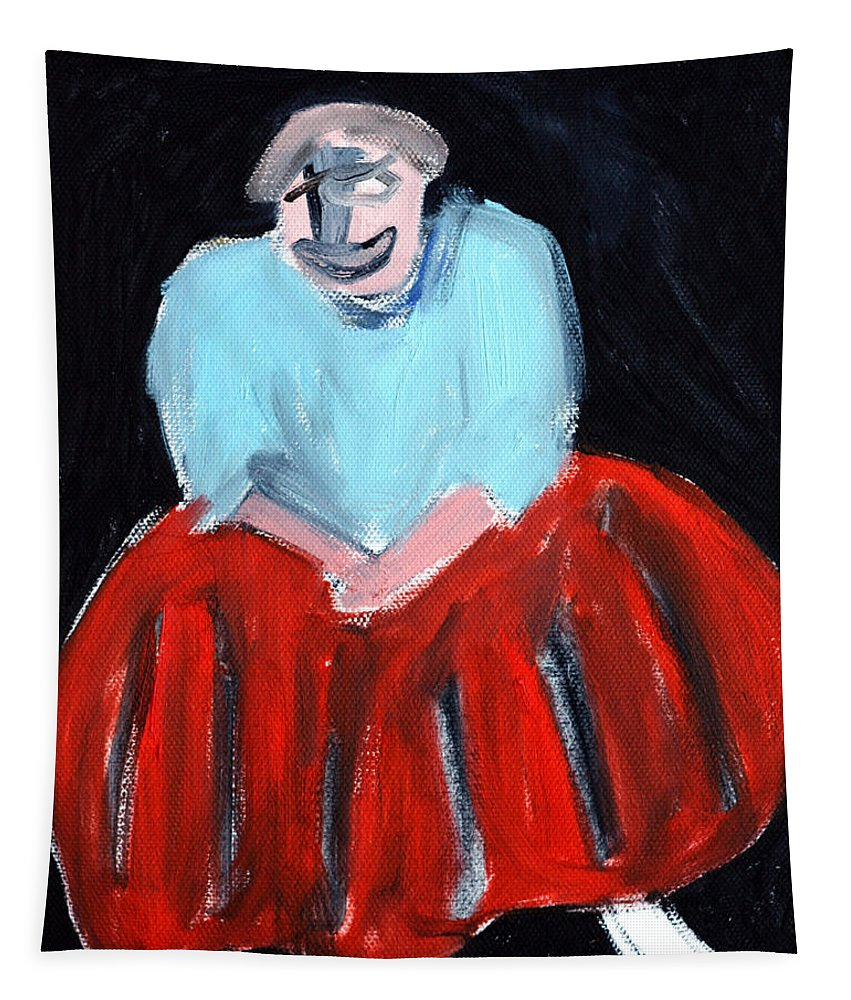 Red Tapestry featuring the painting Red Dress by Edgeworth DotBlog