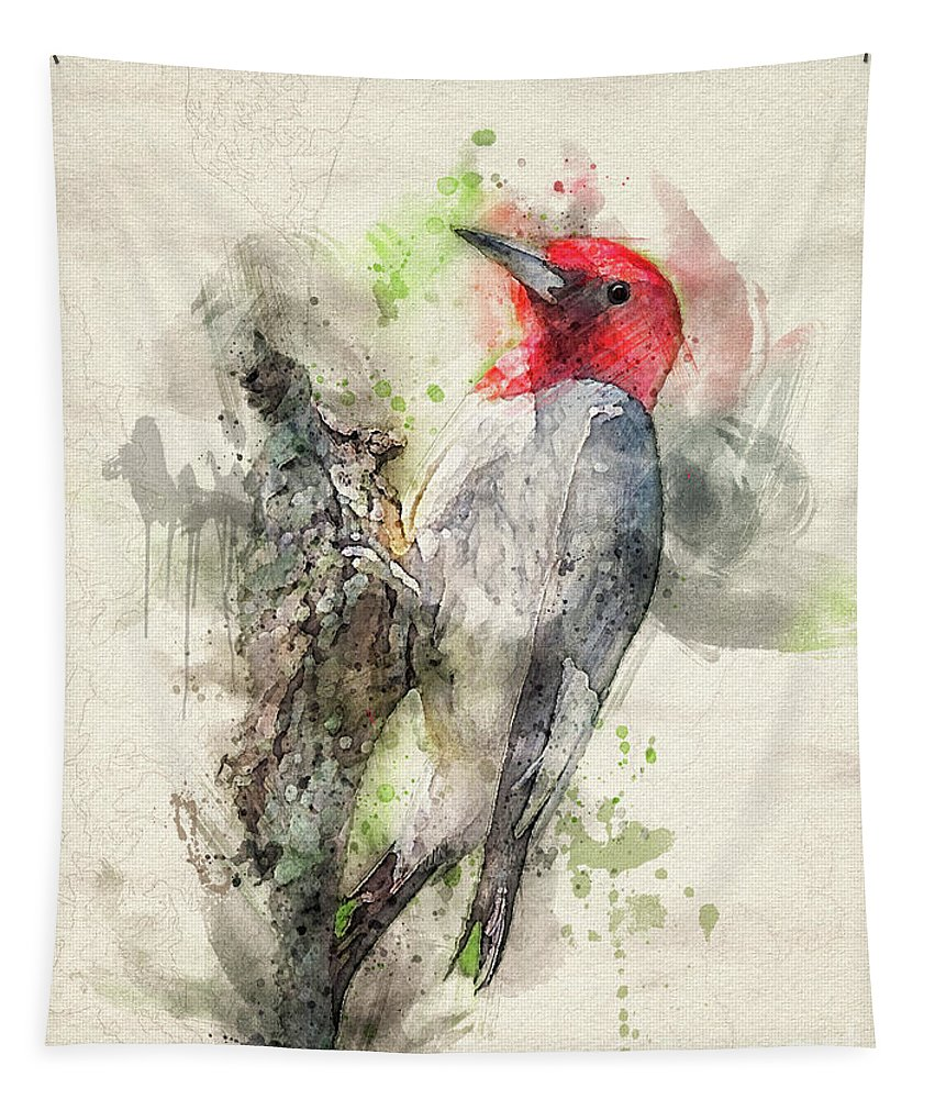 Bird Tapestry featuring the digital art Red Headed Woodpecker by Lois Bryan