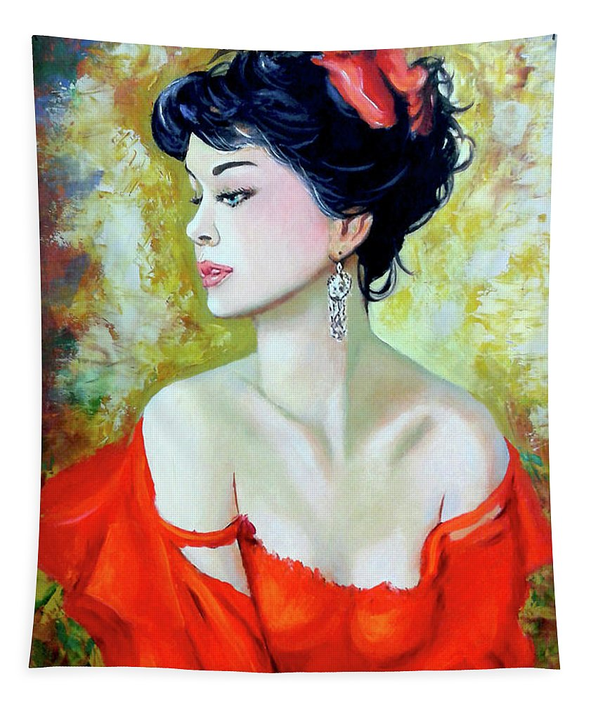 Lady Tapestry featuring the painting Red Lady by Jose Manuel Abraham