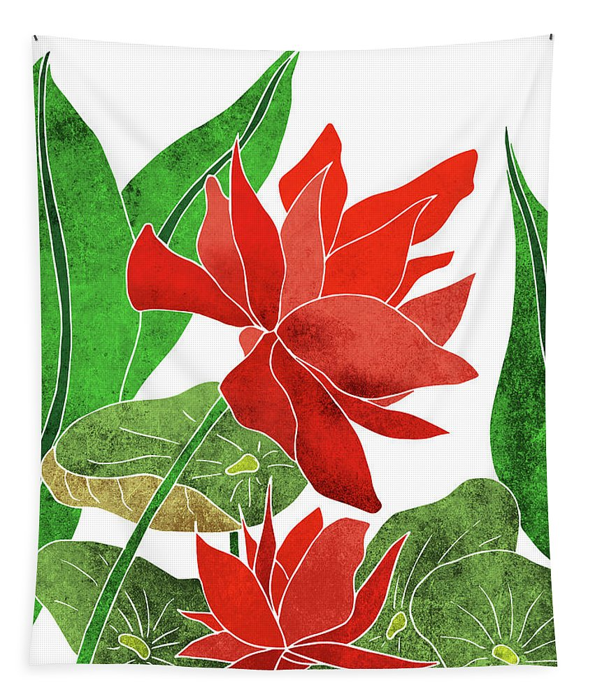 Lotus Tapestry featuring the mixed media Red Lotus Flower - Botanical, Floral, Tropical Art - Modern, Minimal Decor - Red, Green by Studio Grafiikka