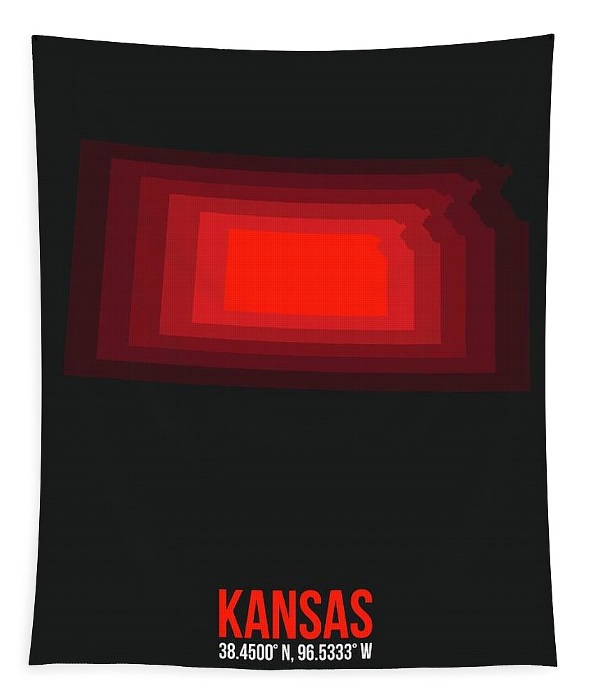 Tapestry featuring the digital art Red Map Of Kansas by Naxart Studio