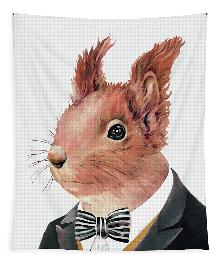 Squirrel Tapestry featuring the painting Red Squirrel by Animal Crew